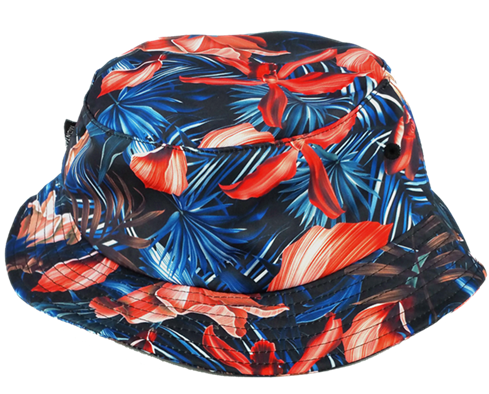 Black polyester printing white logo bucket hat manufacturer