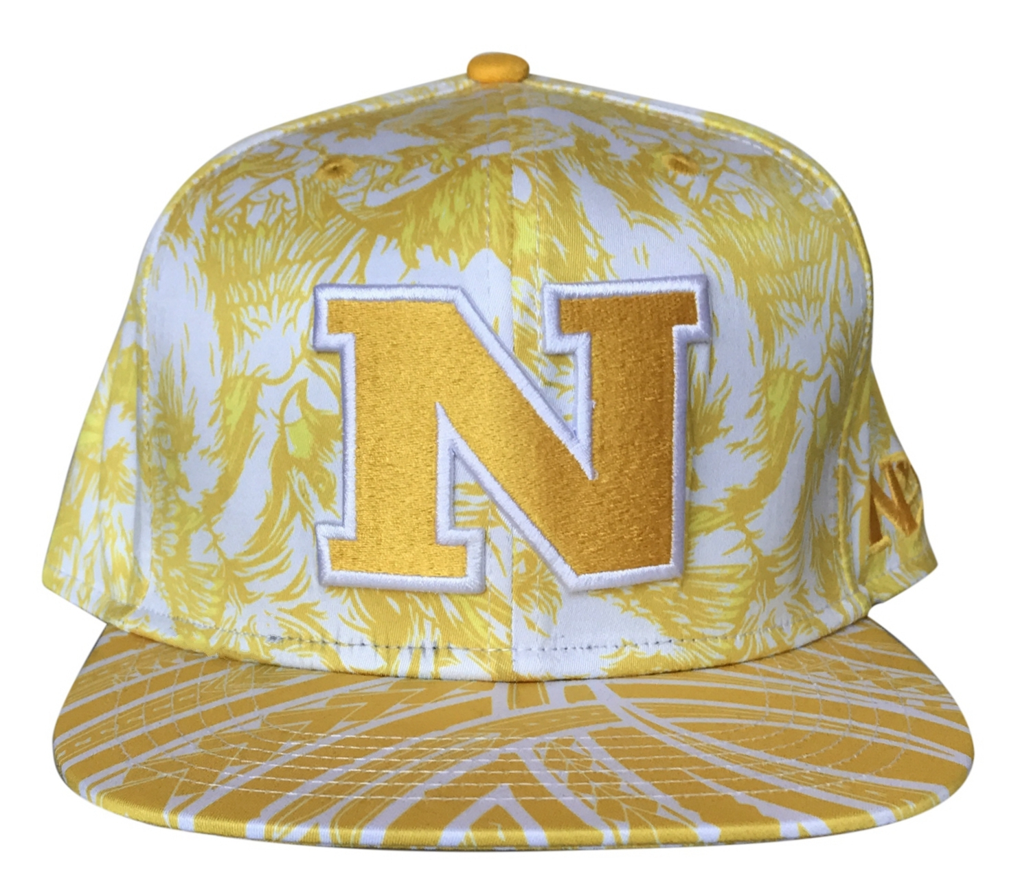Fashion yellow printing pattern 6 panel snapback cap supplie