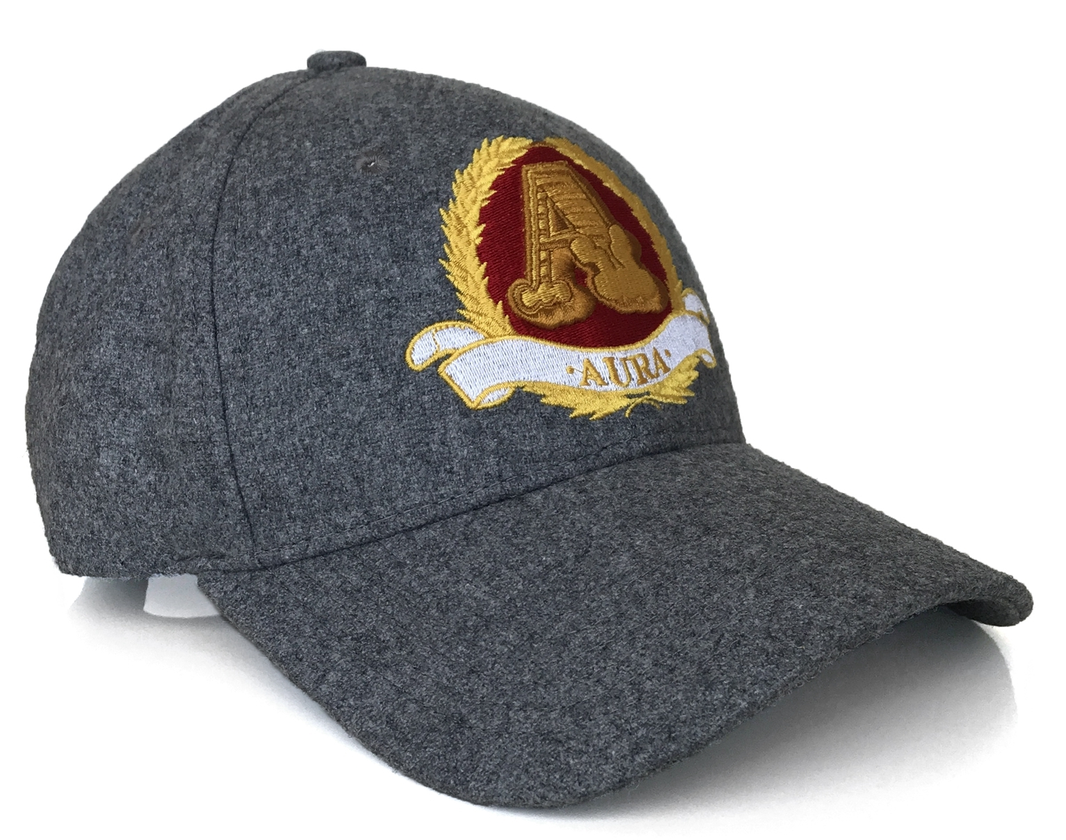 Dark grey wool blend with badge baseball cap supplier