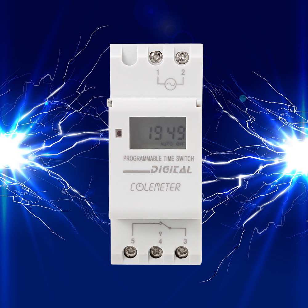 Coilemeter Din Rail Digital Lcd Weekly Programmable Timer Ac 250v Relay Switch Time