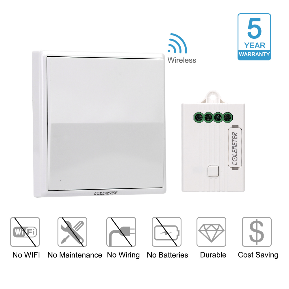Colemeter Wireless Light Switch Kit No Wiring Battery About 3way Digital Remote Control Lamp On Off