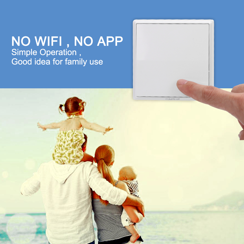 Colemeter Wireless Light Switch Kit No Wiring Battery Cordless Ceiling Wall With Remote Control