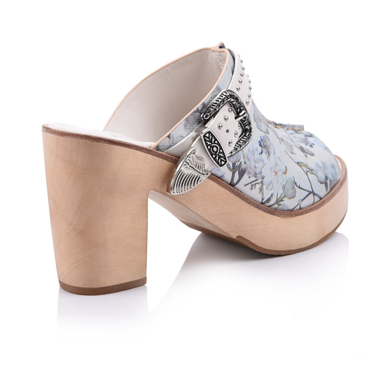 Floral genuine leather high heel women sandal mules shoes fo