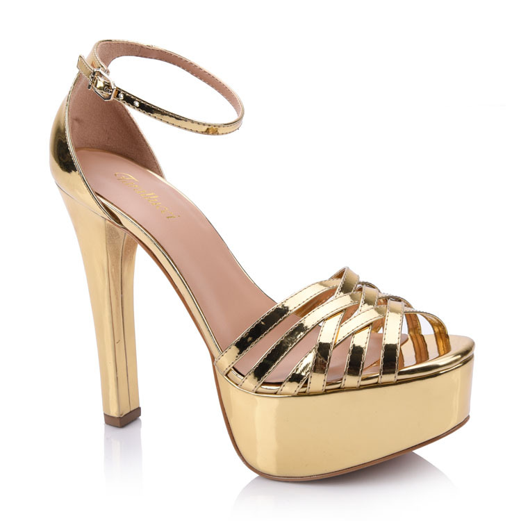 Gold strappy platform heeled sandals shoes china manufacture