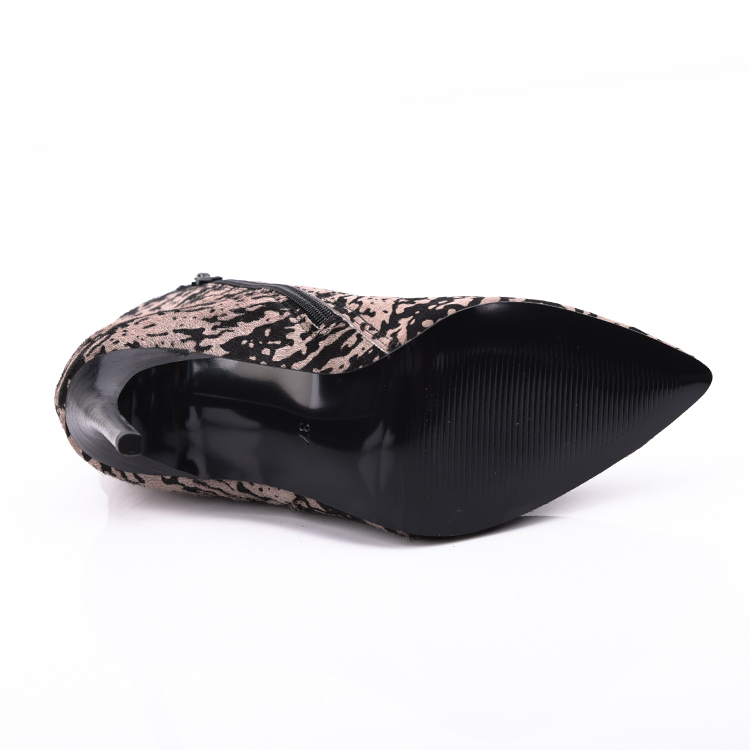 Leopard pony pointed ankle boot shoes manufacturers company