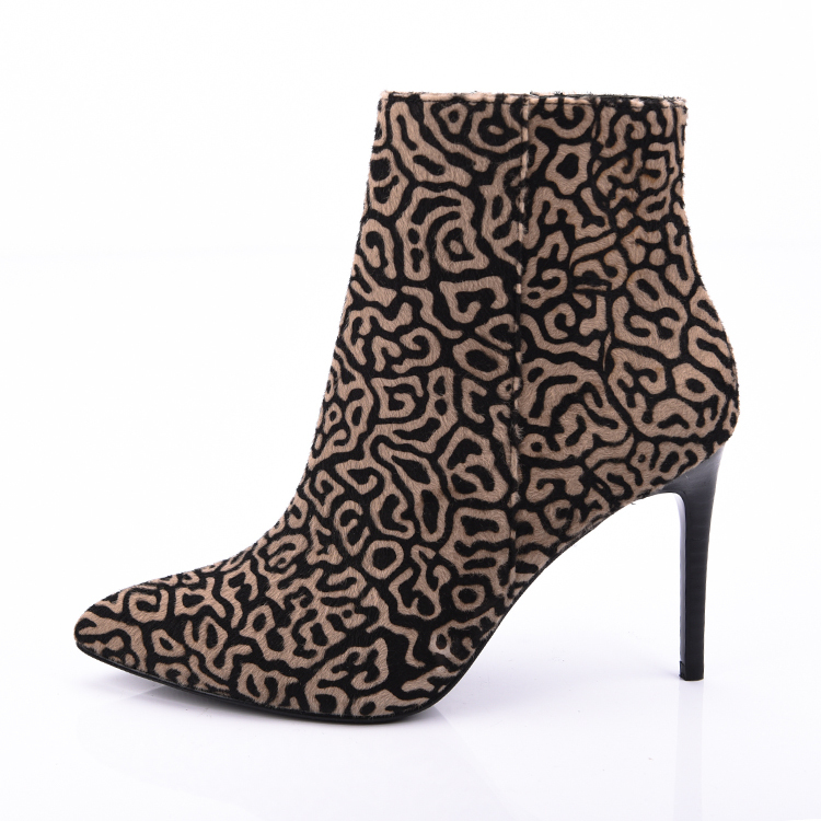 Pointed leopard pony ankle boots shoes china manufacturer