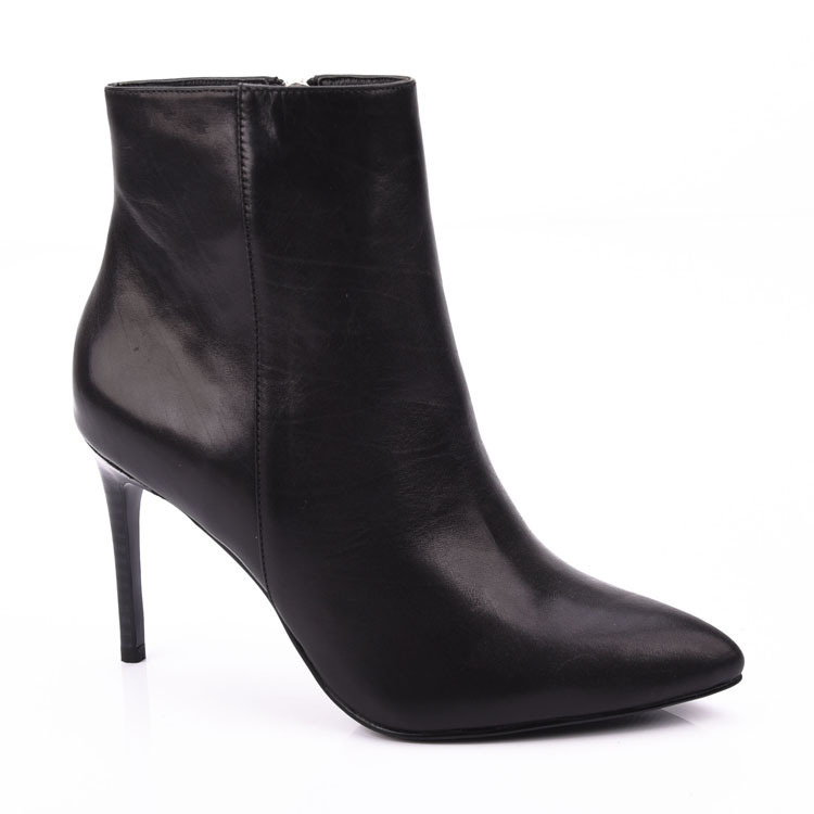 Baby cow leather pointed women high heeled ankle boots shoes