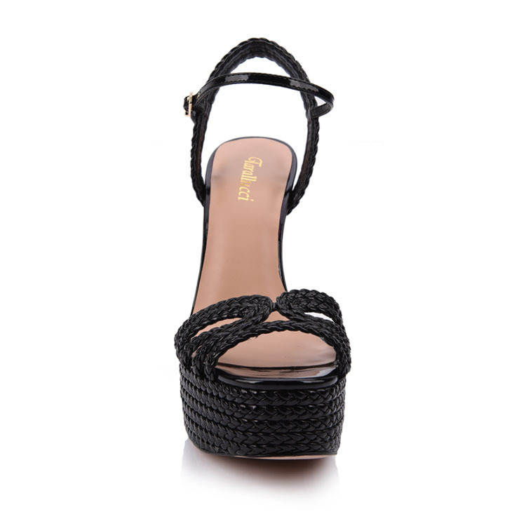 Rope platform heeled pu sandals shoes company in china