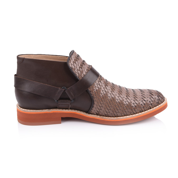 men's leather woven chelsea boots shoes factory in china