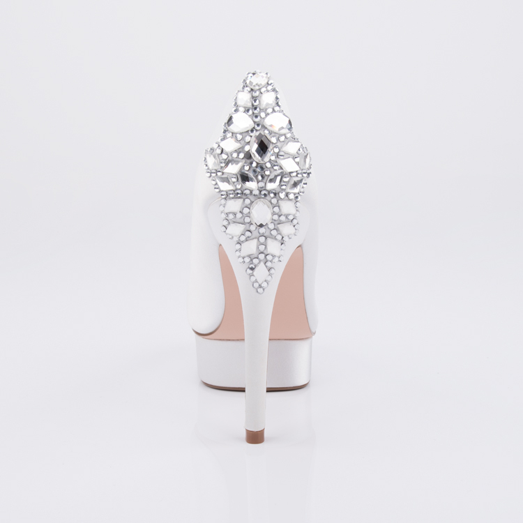 Crystal embellished high heel platform wedding women's shoe