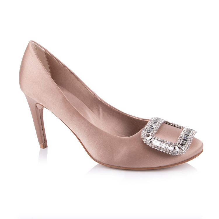 Crystal embellished square toe wedding pump shoe factory