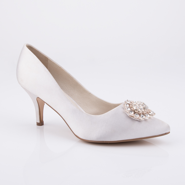 satin pointed toe low heel pump women shoes  manufacturers