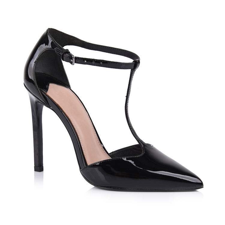 women's patent leather t-strap heels sandal shoes manufactur