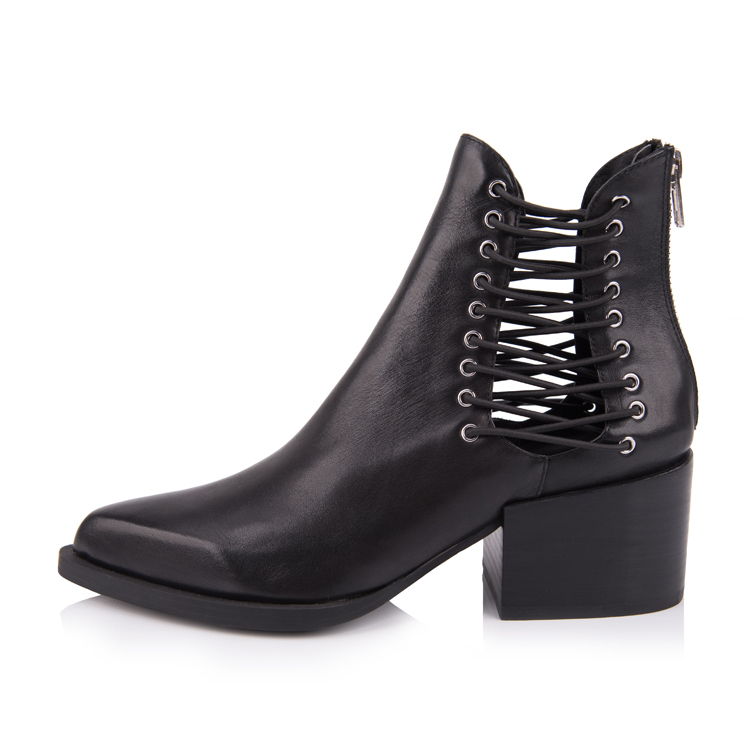 black leather pointed toe ankle boots shoes manufacturers in