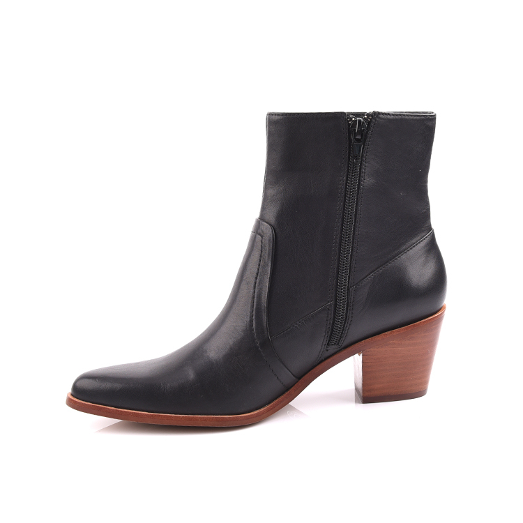 Low Heel Fashion Women Black Leather Ankle Boots shoes manuf