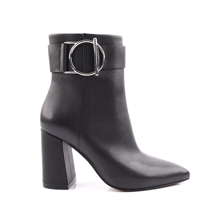 Pointed Toe Black Ladies Fashion Ankle Boots Shoes Manufactu