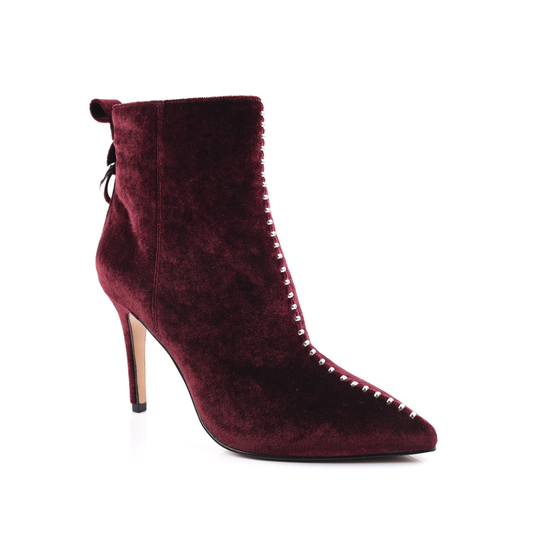 Pointed Toe Burgundy Velvet  Ankle Boots Shoes Factory