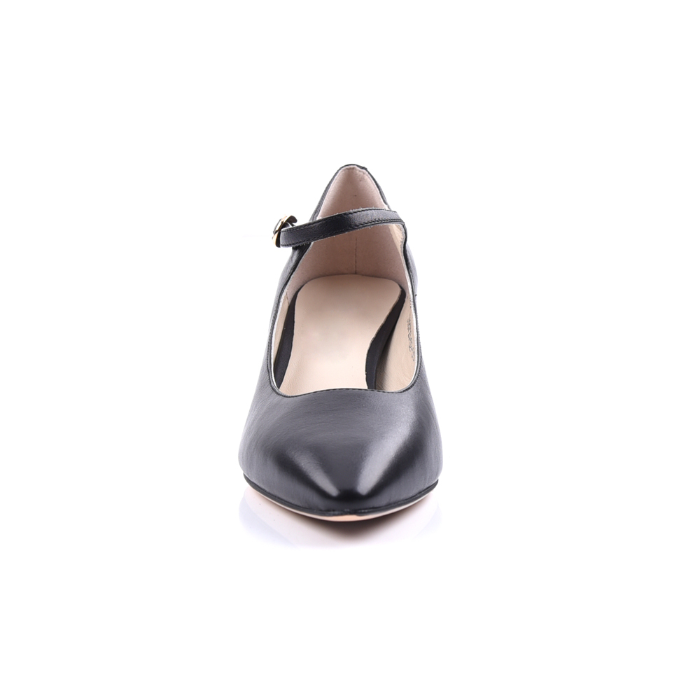 black leather pointed toe low heel bow pump shoes manufactur