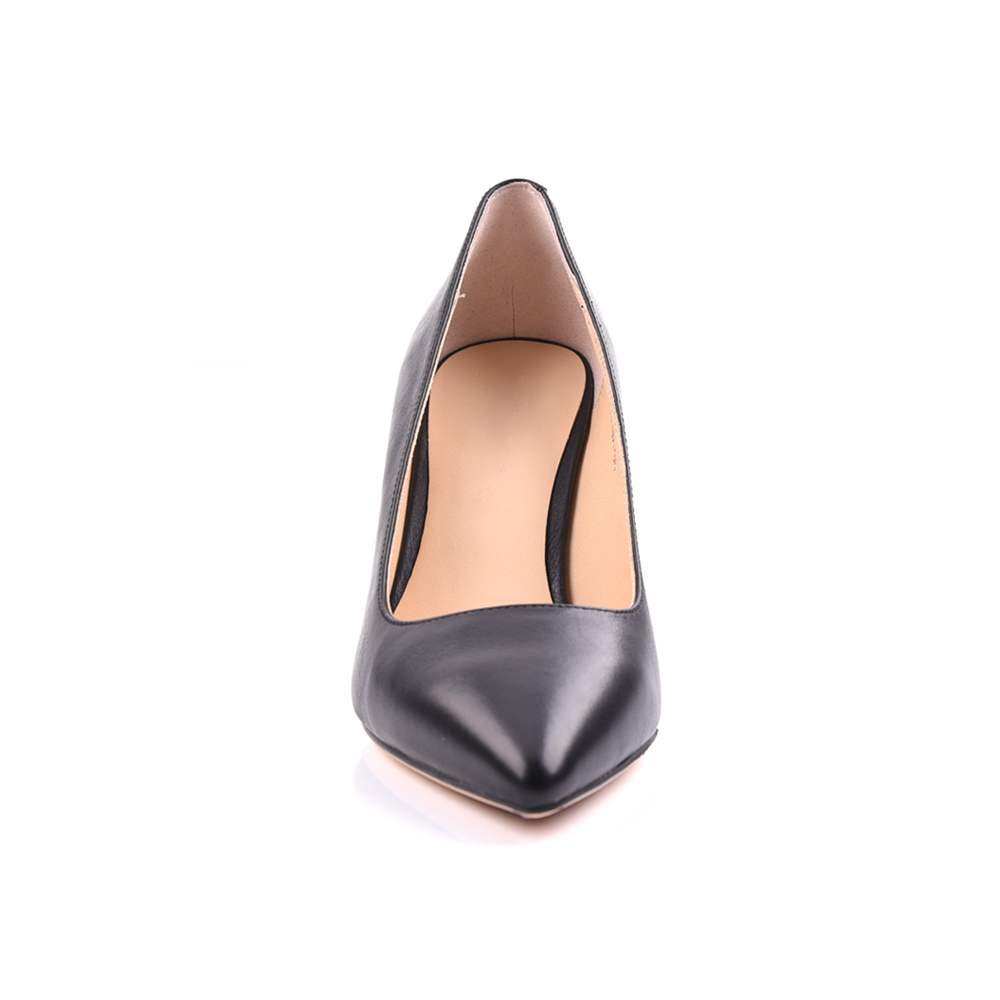Black leather pointed toe high heel ladies pump shoes manufa