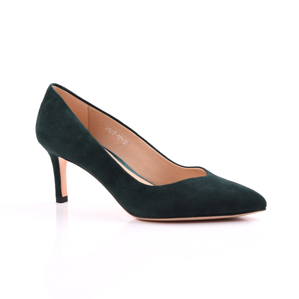 Low heel suede leather pointed toe pump women shoe manufactu
