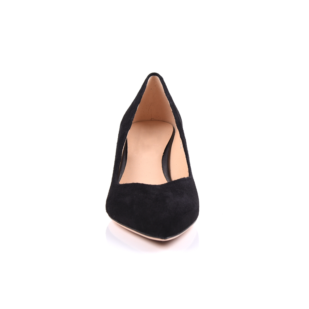 low heel kid suede pointed toe pump women shoe manufacturers
