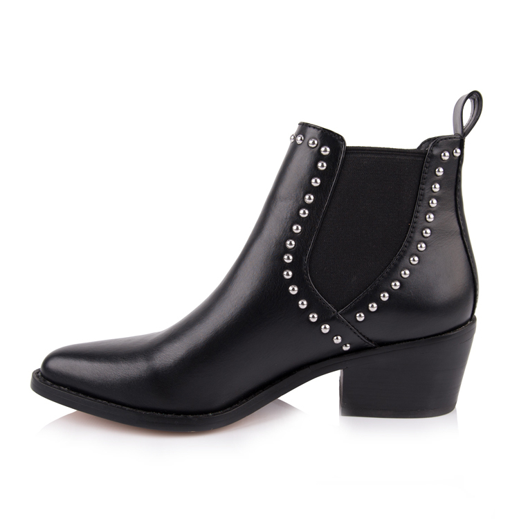 black leather pointed toe low heel ankle boots shoes manufac