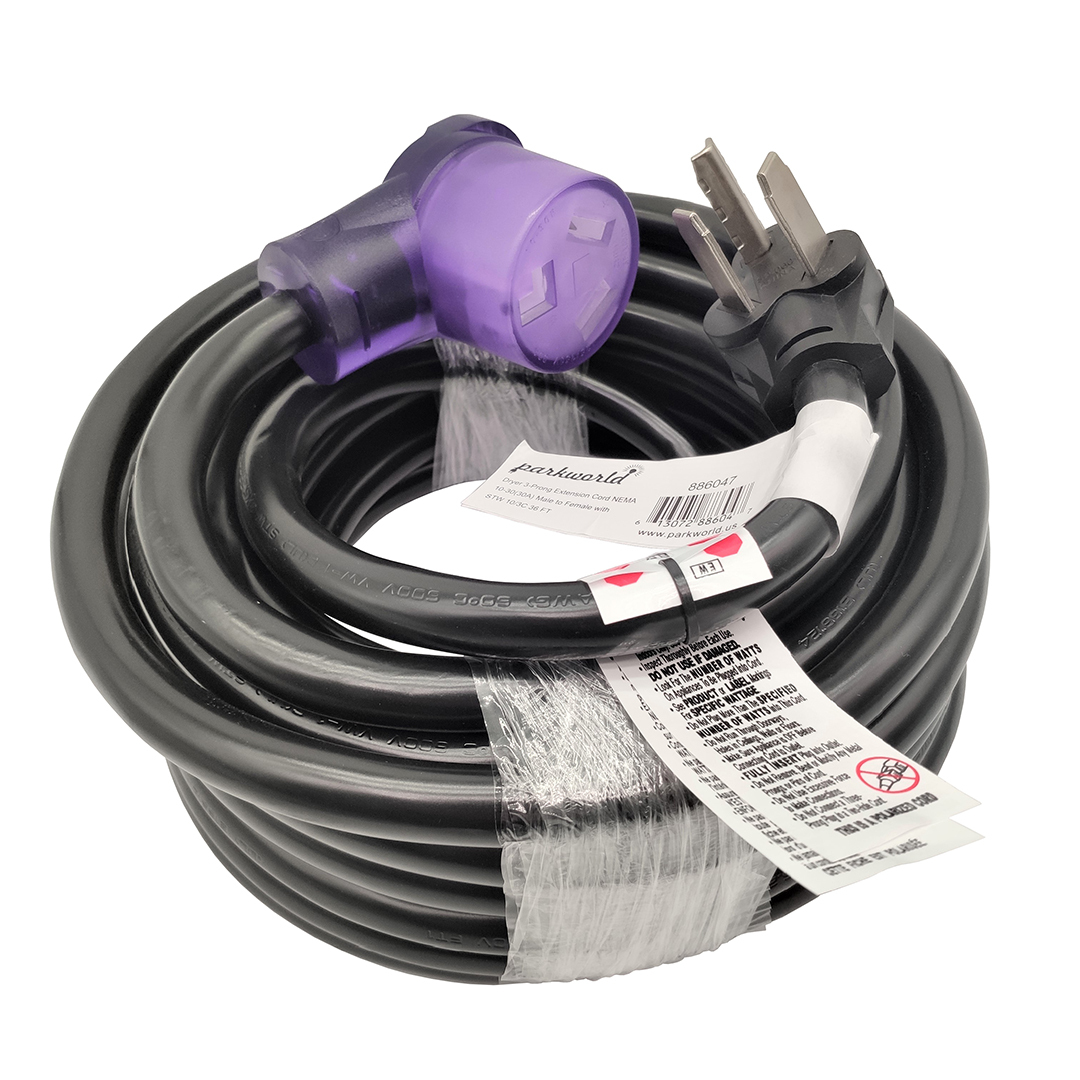 Dryer 3 Prong 30A Extension Cord 36 Feet