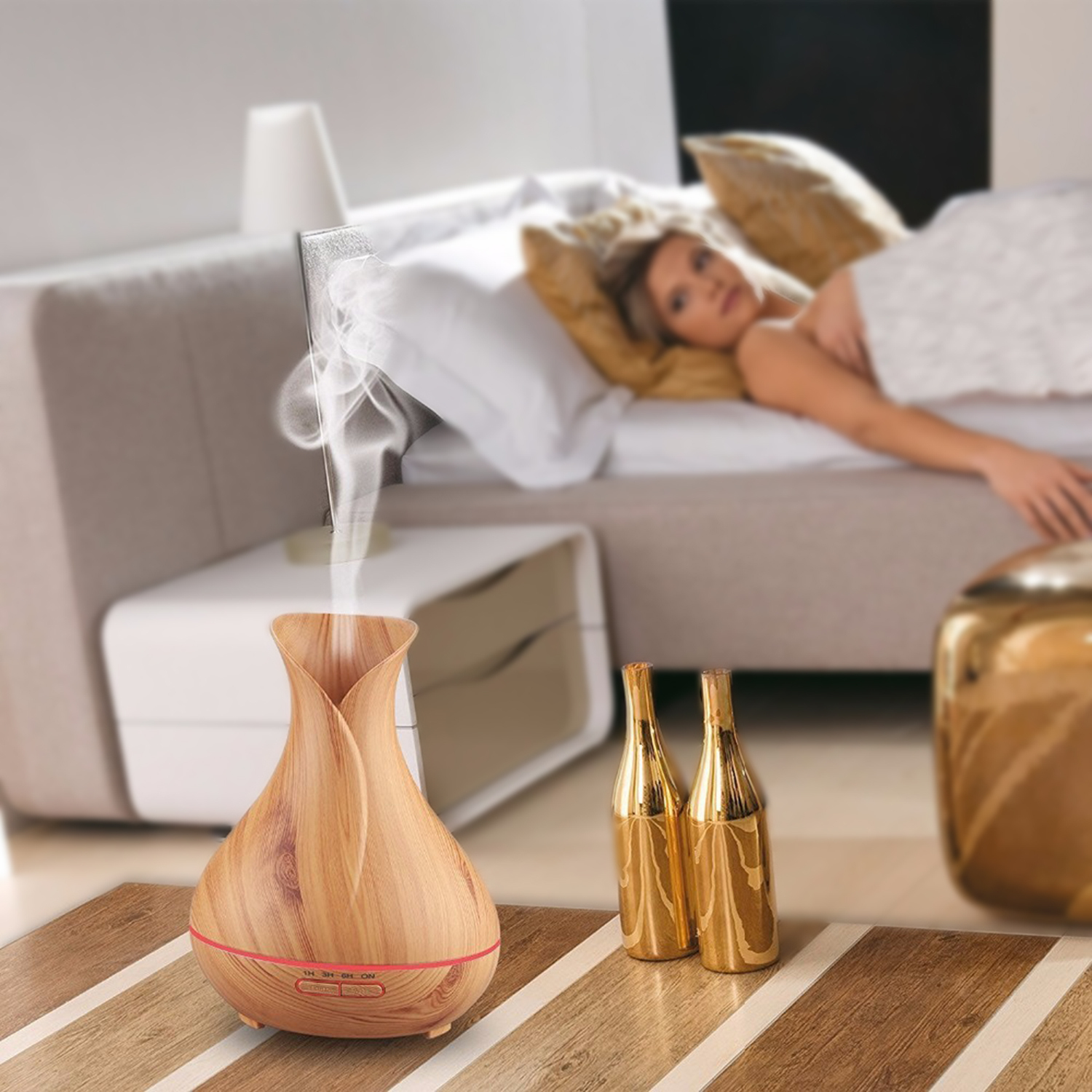 400ml wood grain essential oil diffuser humidifier air