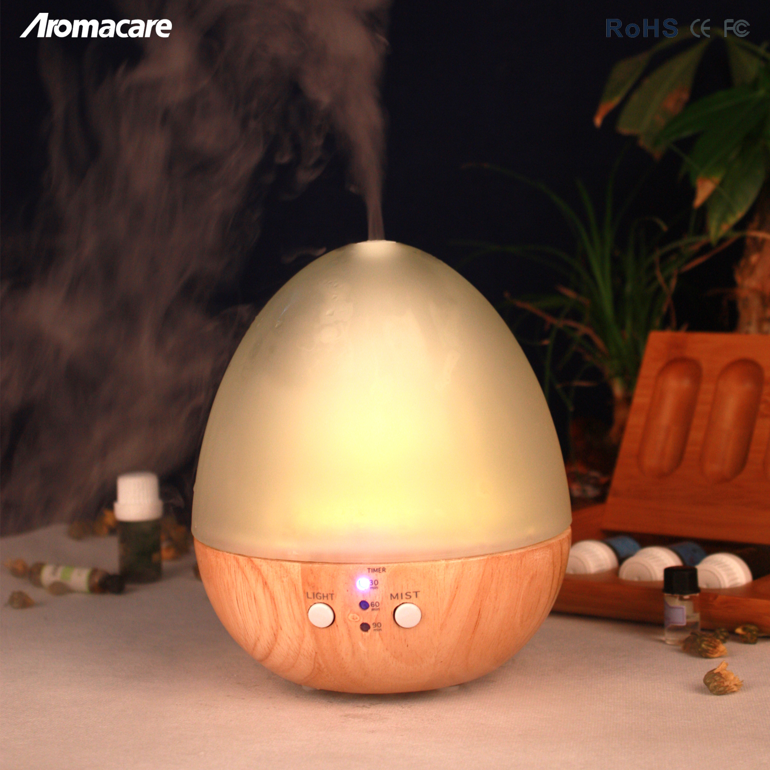 Aroma Diffuser (hot wood & glass timer warm LED lamp time)