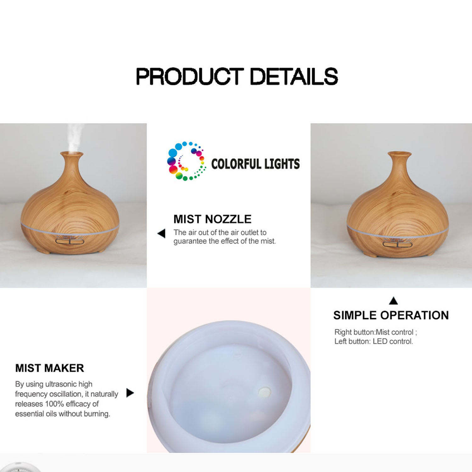 cool Mist Humidifier,Ultransonic Aroma Diffuser, LED Light