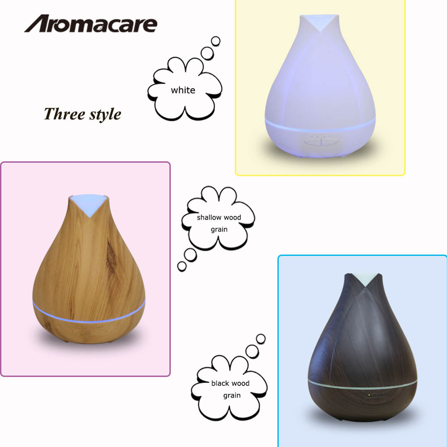 Ultrasonic Aroma Humidifier,Wood Grain Zen Style,Cool Mist