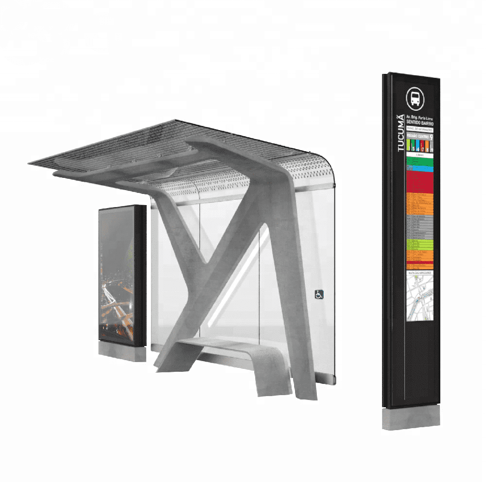 Outdoor Advertising Toughened glass Bus Stop Shelters Bus Sh