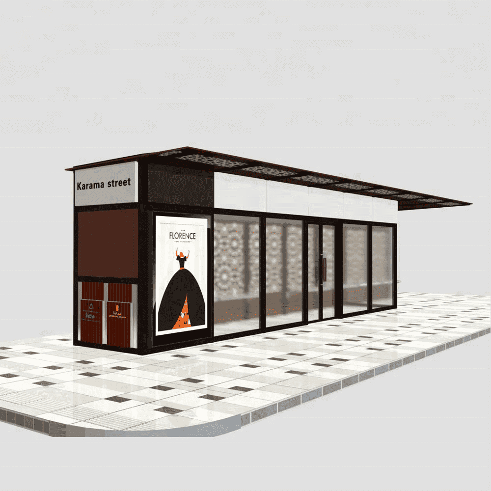Aluminum bus stop shelter design structure and price A021