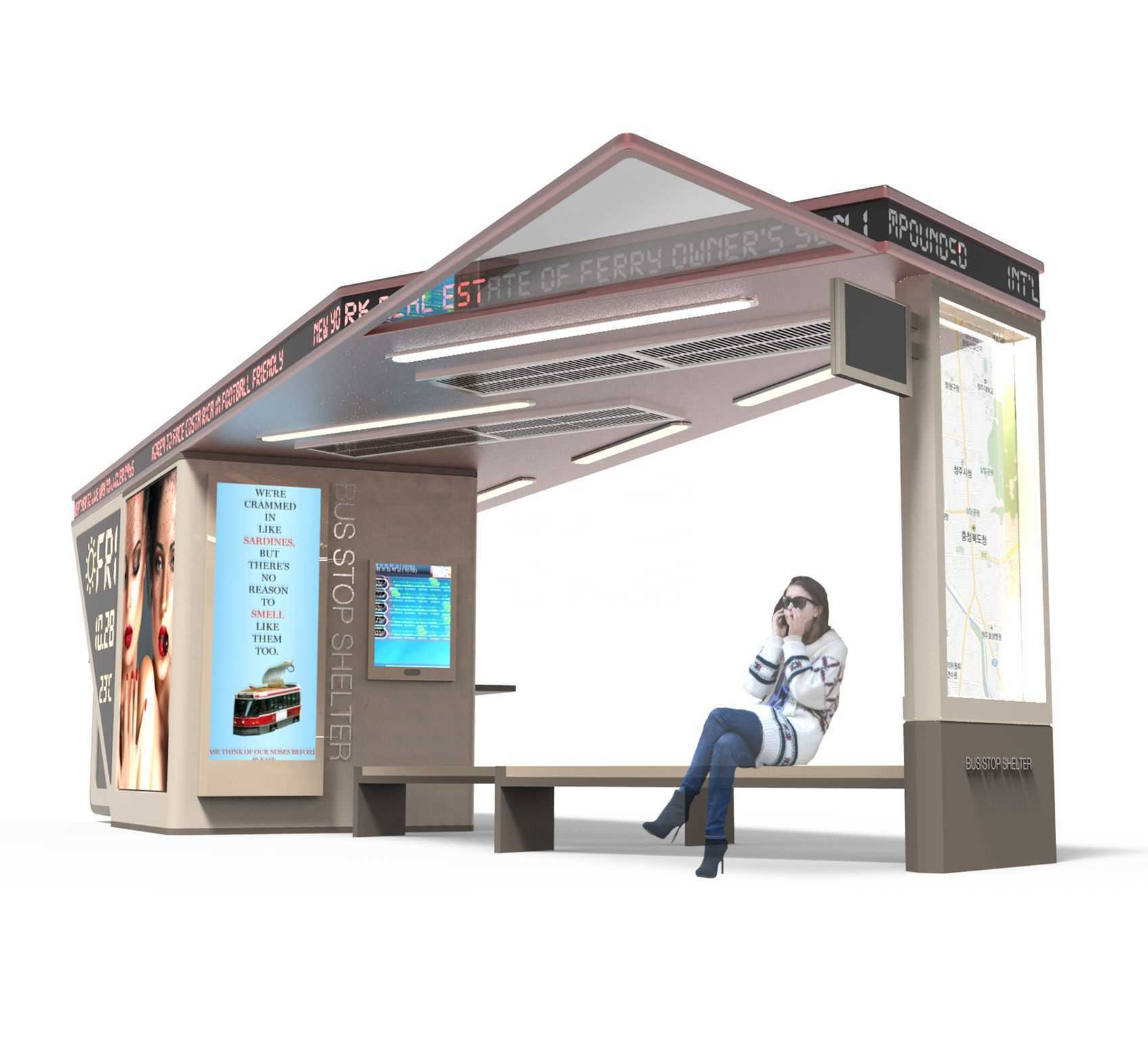 Smart Bus Stop Outdoor Floor Standing LCD Kiosk with Bus She