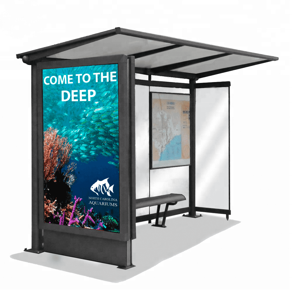 Aluminum adverting equipment bus stop shelter light box