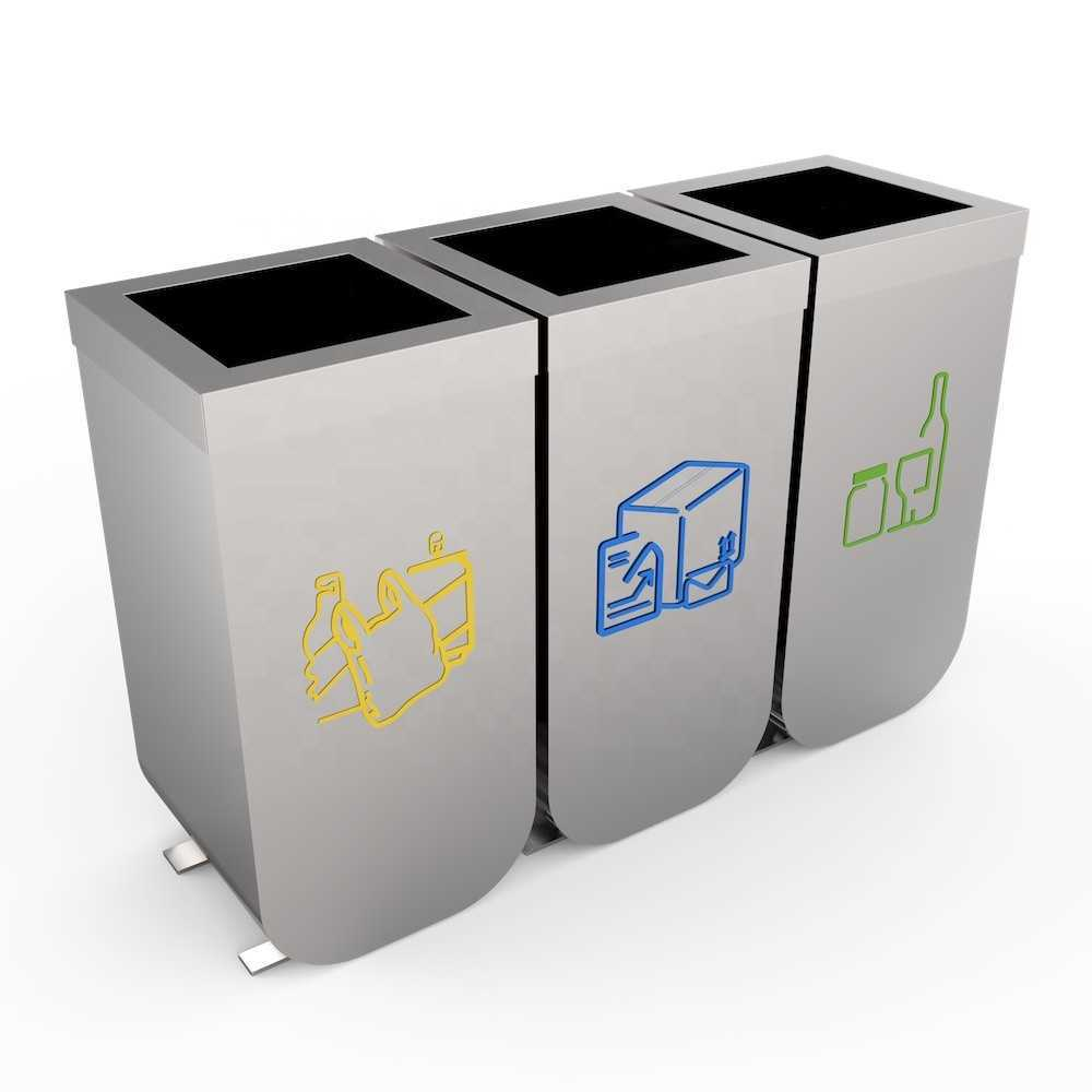 Metal airport stainless steel waste bin indoor recycling bin