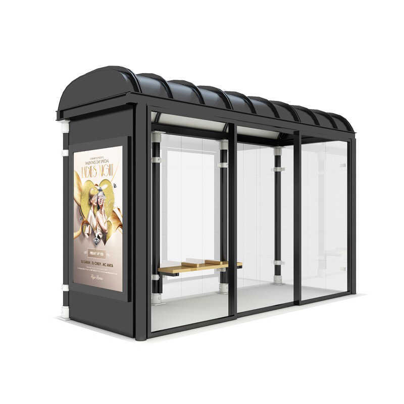 Newest Style Outdoor Frame Tempered Glass Bus Station Shelte