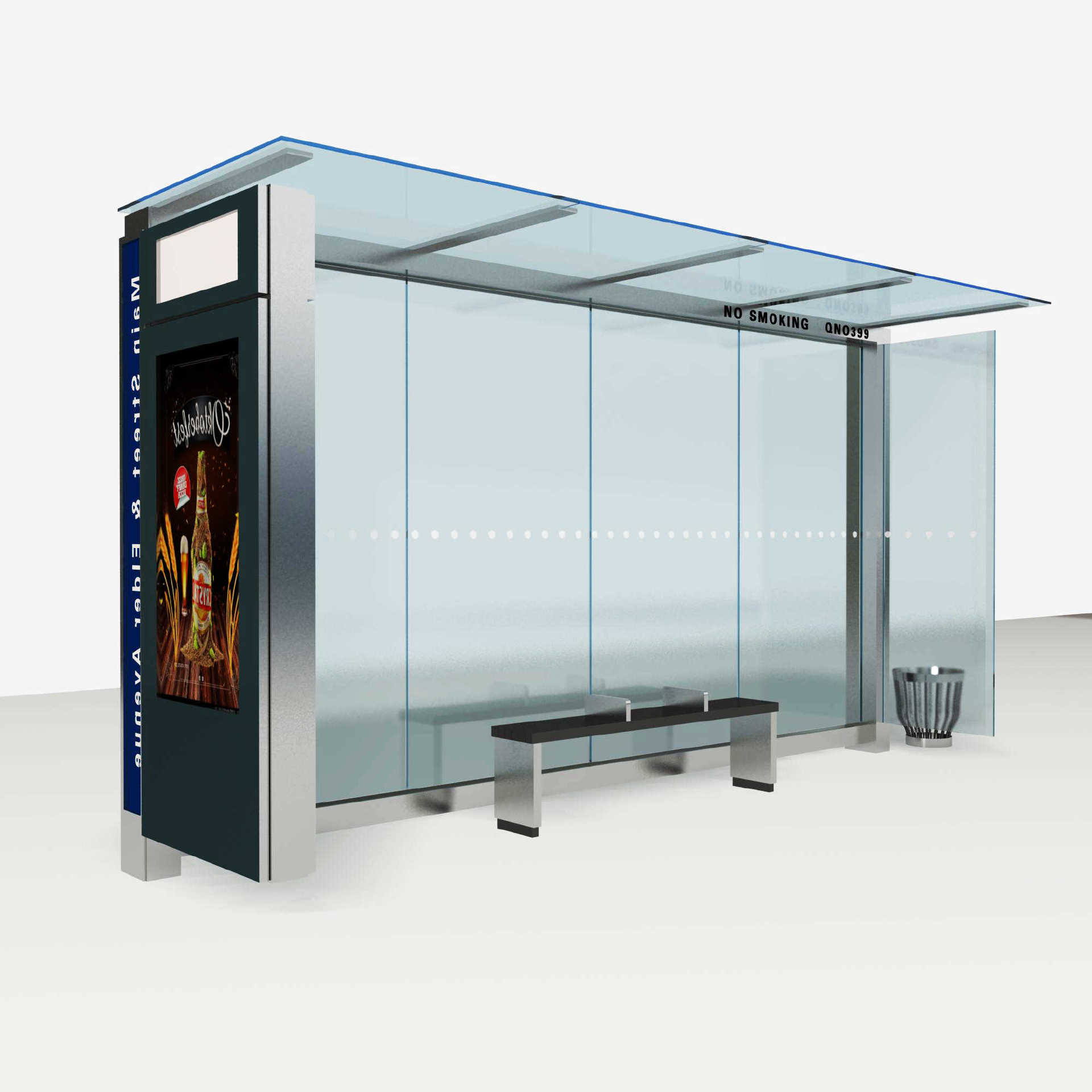 Customized stainless steel Chinese waiting shed solar bus st