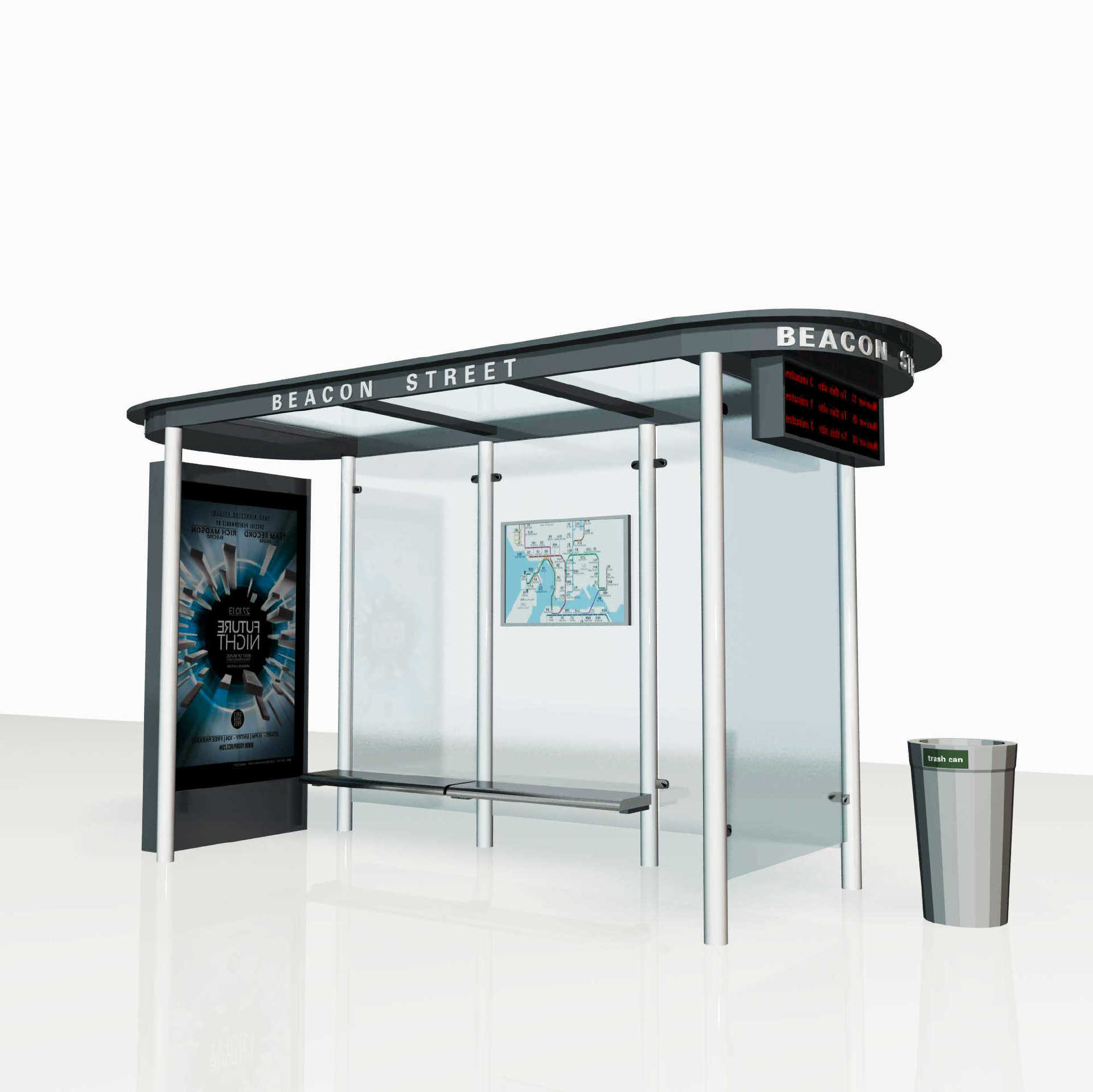 Tempered glass back outdoor advertising bus stop shelter A01