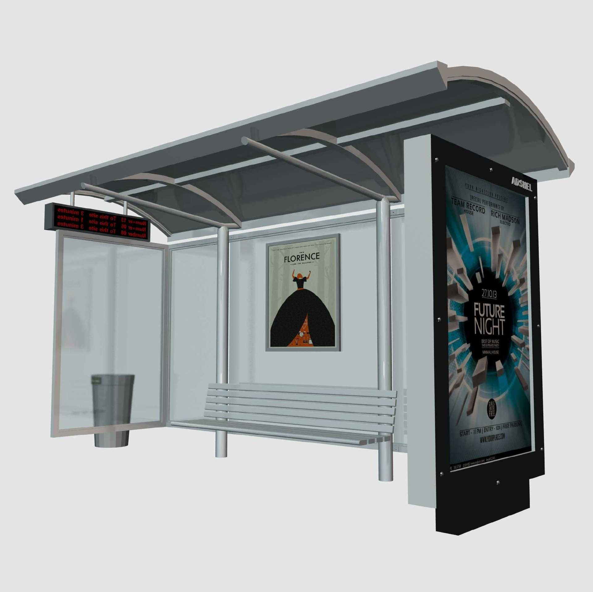 Advertising customized bus stop shelter Roof Bench bus shelt