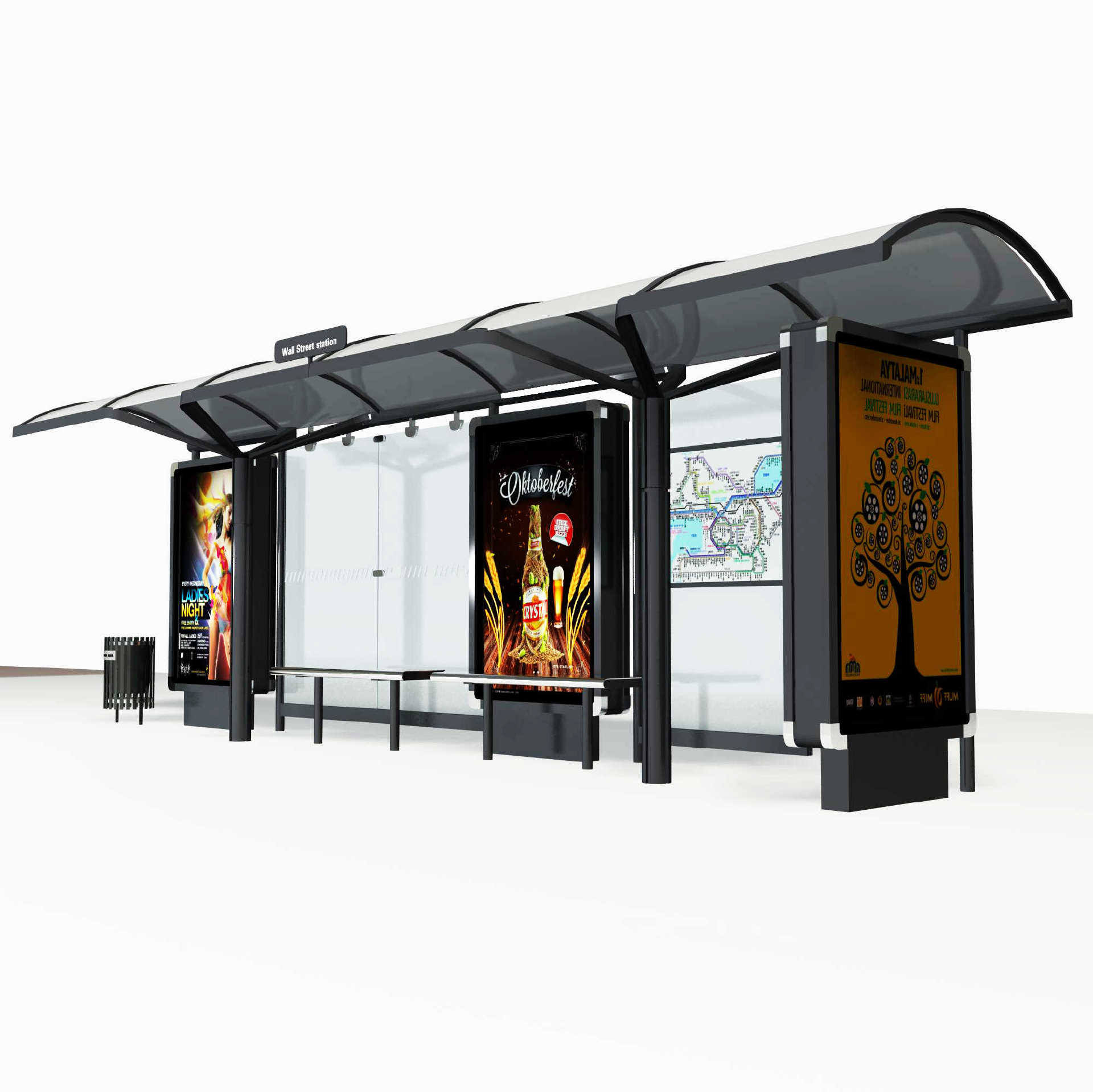 Modern Technology Tempered Glass Frame Bus Stop Shelter A015