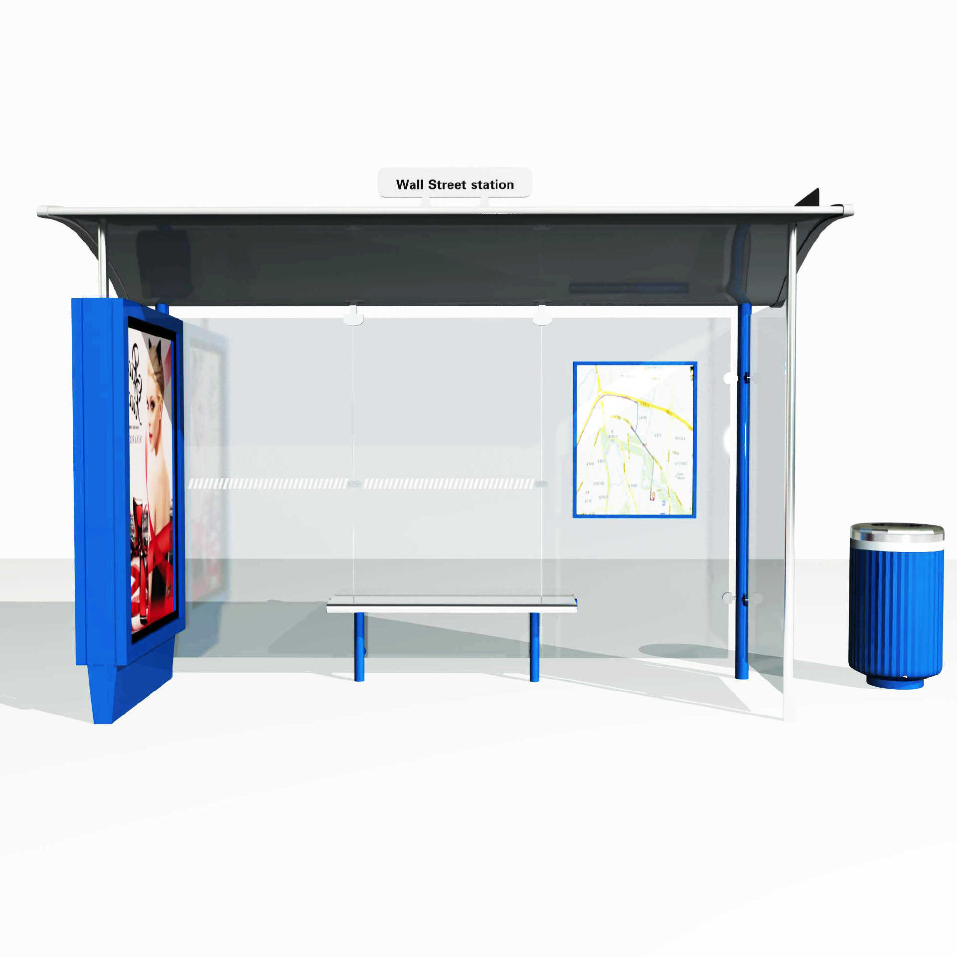 Factory made customized bus stop station whit light box A007