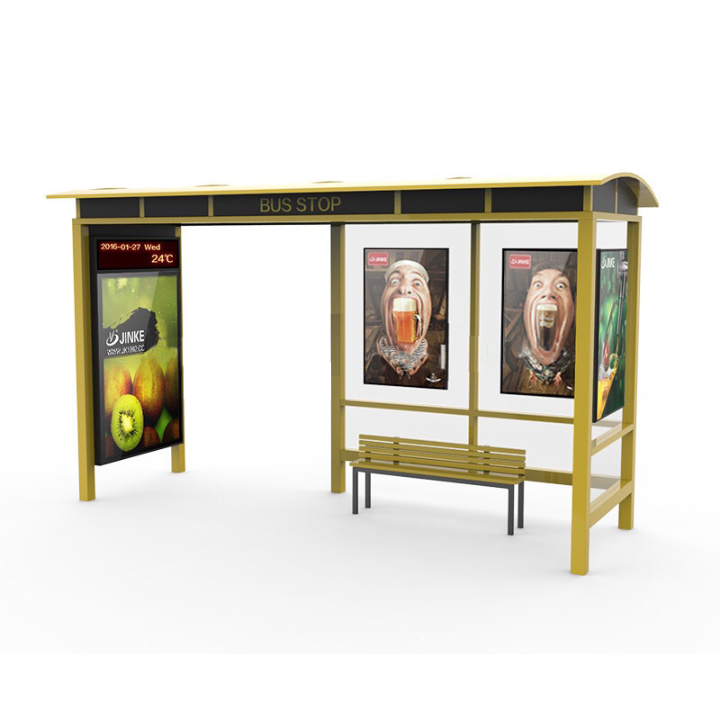 Simple stainless steel bus stop shelter for sales A060
