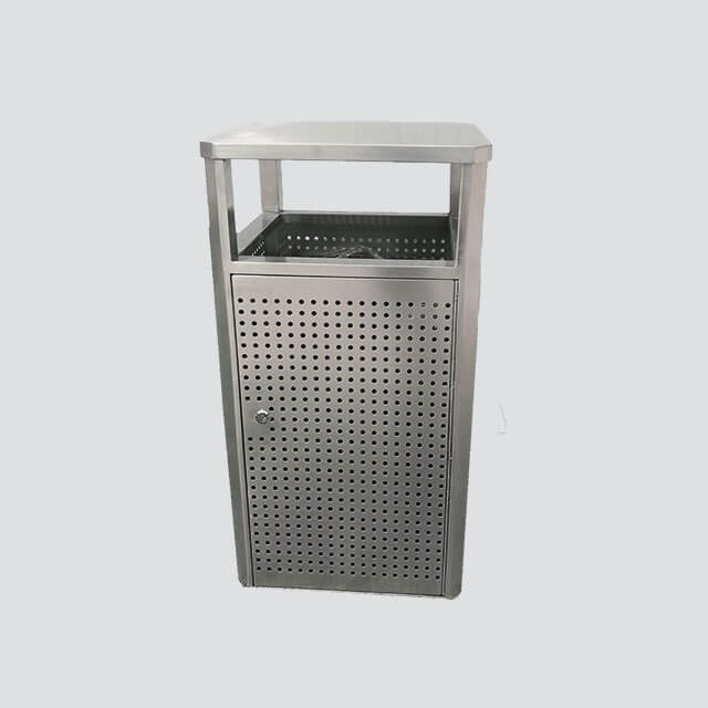 Outdoor Park metal commercial stainless steel garbage bin H0