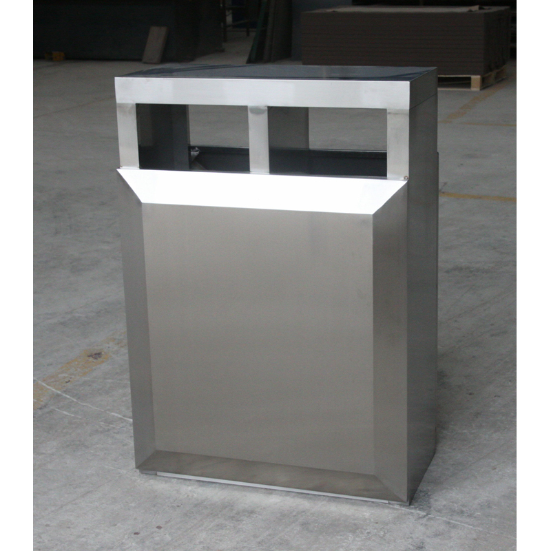 outdoor stainless steel trash bin 2 compartment for park H00