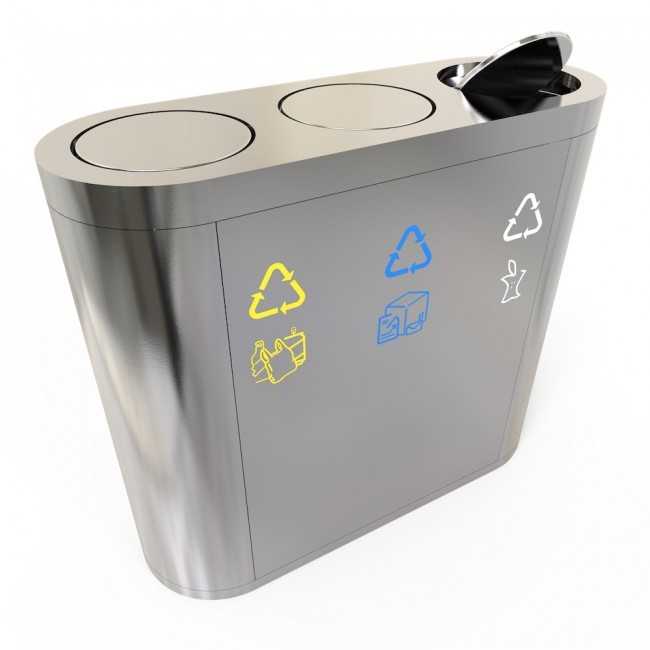 Stainless steel outdoor recycle bin trash can for street or