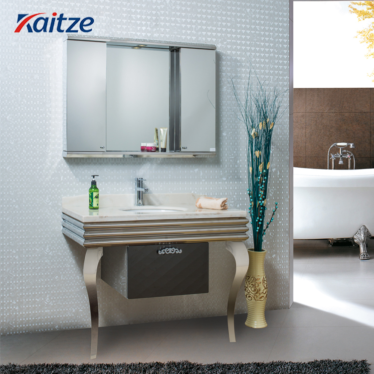 Stainless Steel Bathroom Vanity Combo Ceramics Sink And Marble Countertop With Mirrored Cabinet