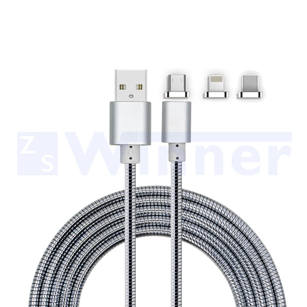 Magnetic Cable,3-in-1, micro & Lightning & Type C USB Cable