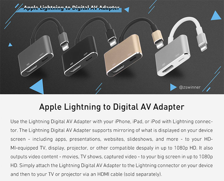 Professional Lightn-ing Cable to TV Cable Adapter For Apple