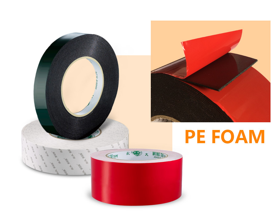 PE adhesive foam tape with strong holding power, good confor